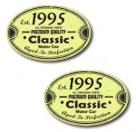 PAIR Distressed Aged Established 1995 Aged To Perfection Oval Design Vinyl Car Sticker 70x45mm Each
